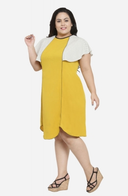 Yellow Casual A-line Shift Plus Size Dress with Ruffled Sleeves