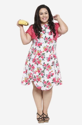 Asymmetric A-line Shift Casual Floral Plus Size Dress with Ruffled Sleeves