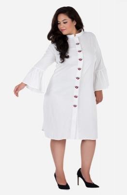Embroidered Placket Shirt Dress