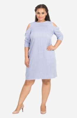 Cold- Shoulder Stripe Dress