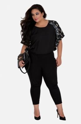 Women's Black Ruffled Top