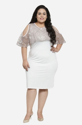White Bodycon Party Cape Dress with Cold-Shoulders