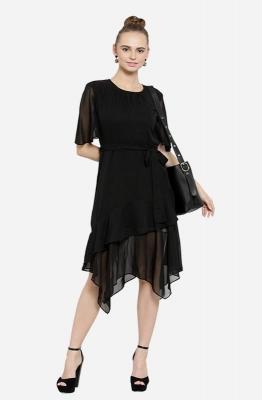 Black Asymmetric Ruffled Semi-Sheer Party Dress