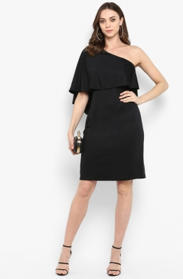 One-shoulder Straight-fit Cape Party Dress