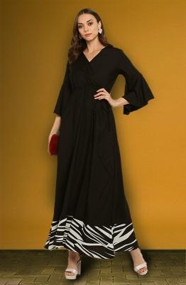Formal Maxi Dress with Contrast Hemline