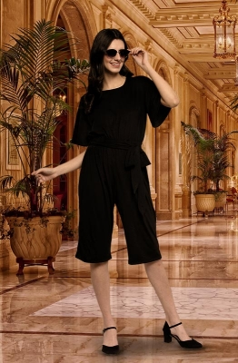 Black Knee-Length Tie Waist Casual Jumpsuit