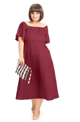 Solid Off-shoulder A-line Party Dress