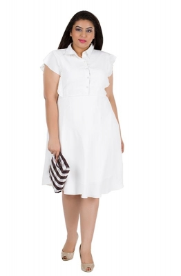 White A-line Casual Dress