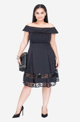 Off The Shoulder Dress with Lace Inserts