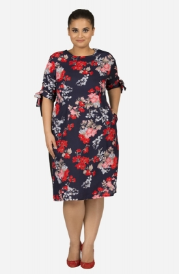 Floral Print Tie-Sleeve Dress