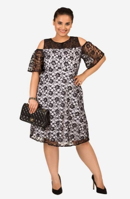 Straight fit Lacy Cold Shoulder Party  Dress