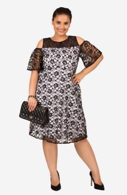 Straight fit Lacy Cold Shoulder Party Plus Size Dress