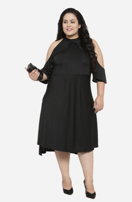 Fit and Flare Ruffled Cold-shoulder Party Plus Size Dress