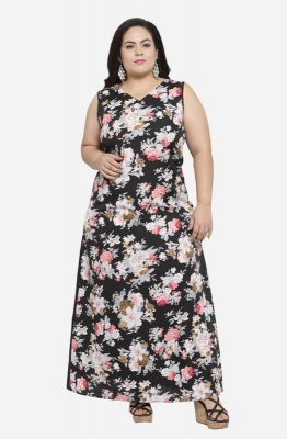 Formal Sleeveless Floral Maxi Plus Size Dress with Contrast Back