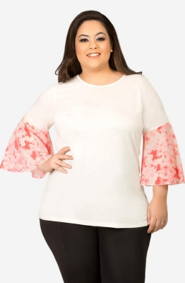 Women's White Semi-Casual Top with Printed Bell Sleeves