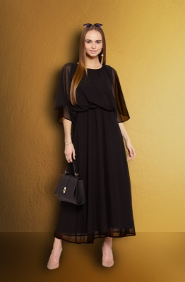Formal Black Fit and Flare Maxi Dress with Cape Sleeves