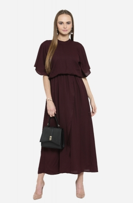 Formal Solid Blouson Maxi Dress