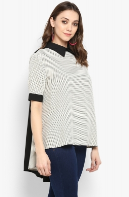 Fine Dotted Shirt-style Formal Top with Contrast Collar