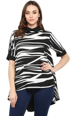 Monochrome Asymmetric High-low Party Top with Pleated Back