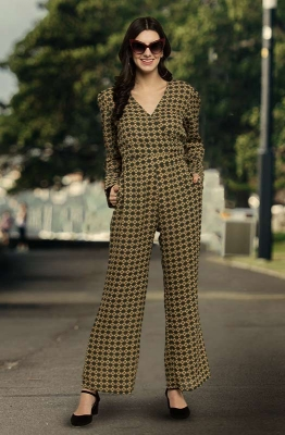 Geometric Print Long Sleeve Casual Jumpsuit