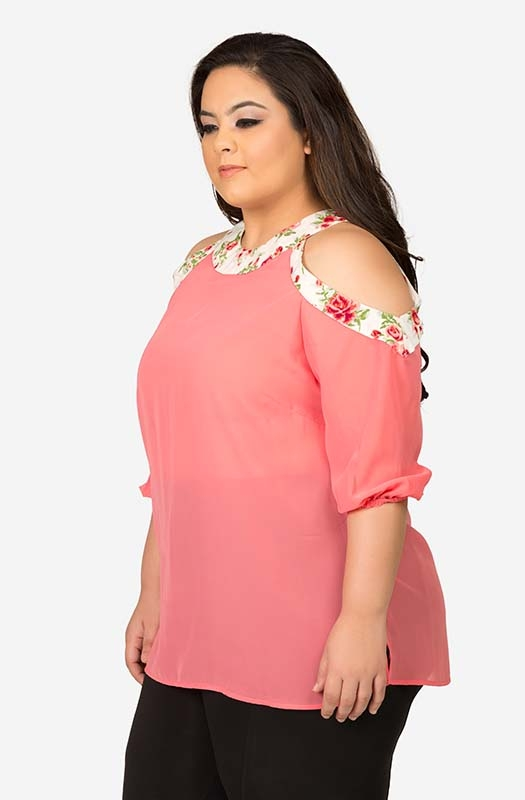 Peach Georgette Cold Shoulder Top