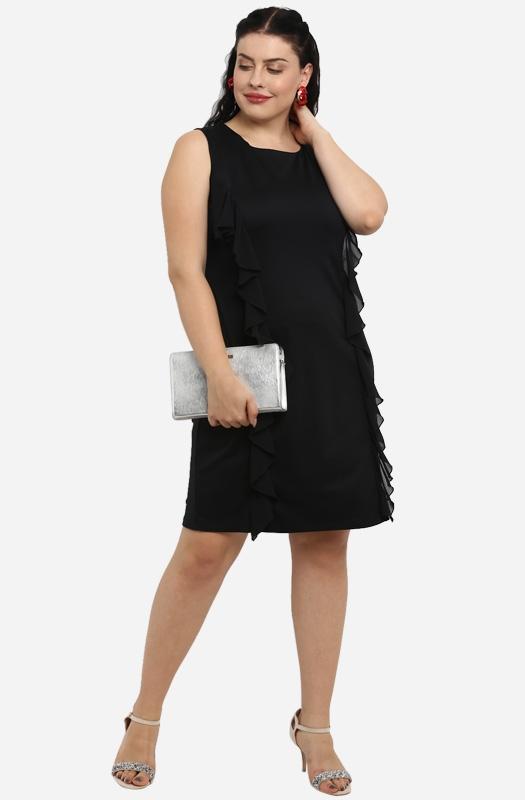Black Ruffle Knee-Length Dress