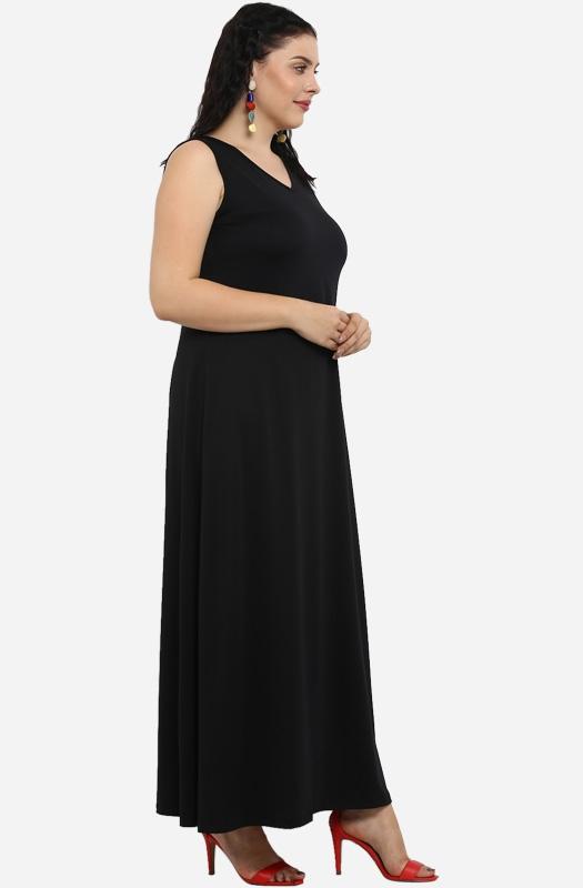 Black Floor Length Dress with V shaped neckline