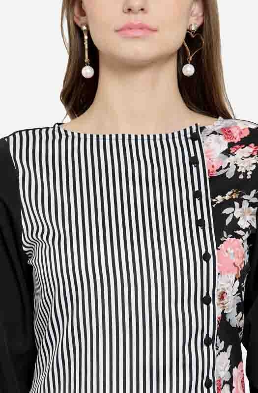 Formal A-line Top with Boat Neck and a Floral Patch at the Side