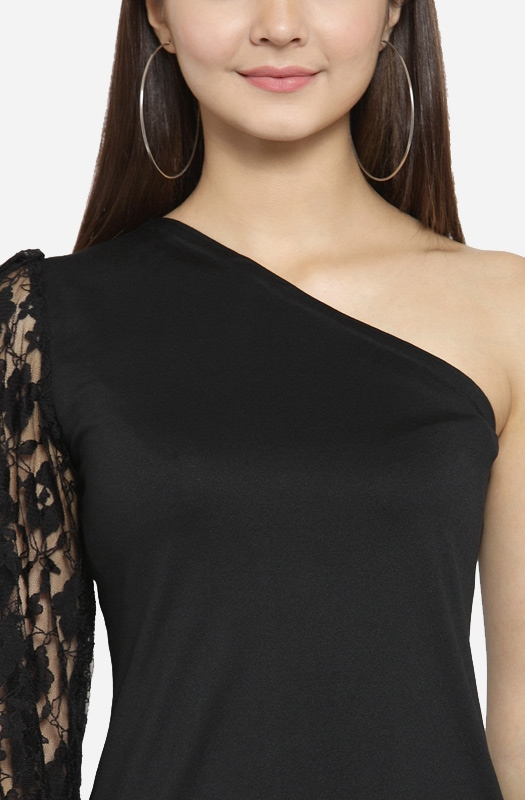Black Off-Shoulder Long Sleeve Top