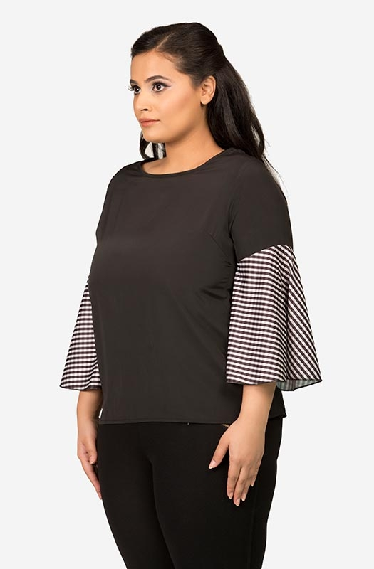 Women's Black Semi-Casual Top with Soild Bell Sleeves