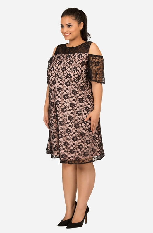 Black Fit and Flare Lace Dress with White Lining
