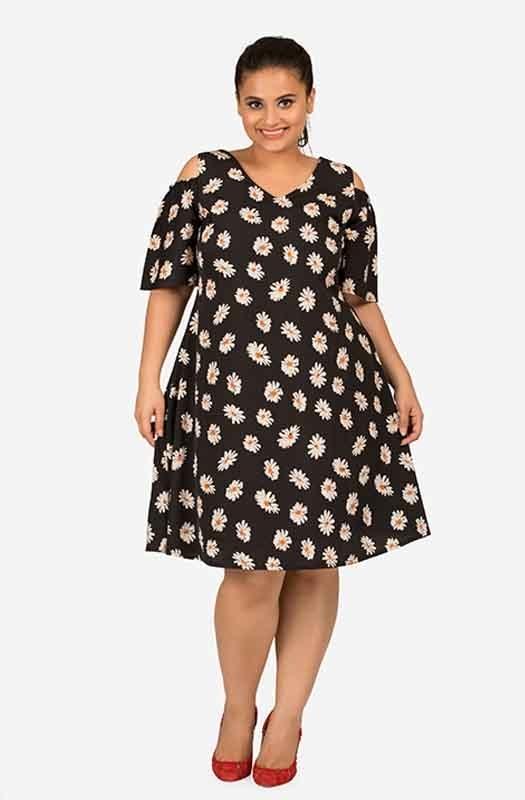 Cold shoulder printed Flare sleeve dress