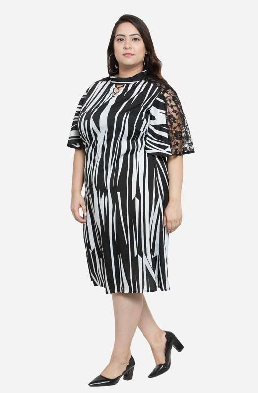 Monochrome A-line Party Dress