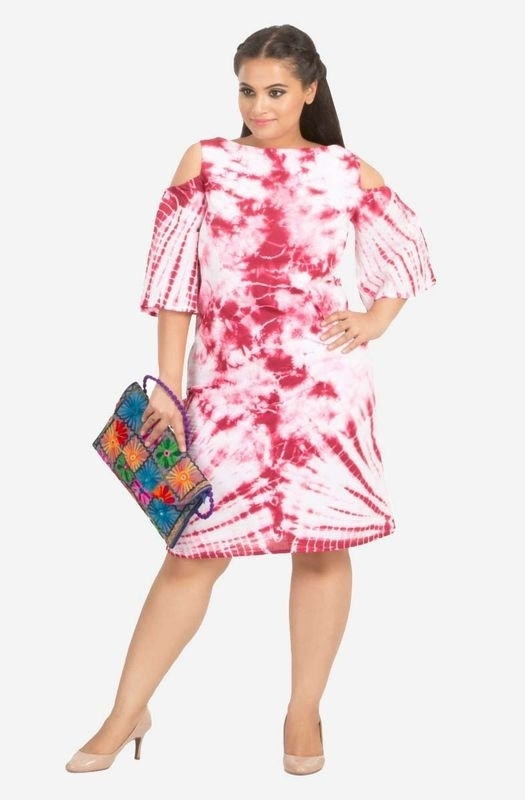 Cotton Tie Dye Knee Length Dress