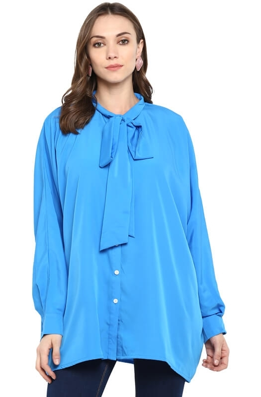 Oversized Casual Shirt with Tie-up Neck with Button-Cuff