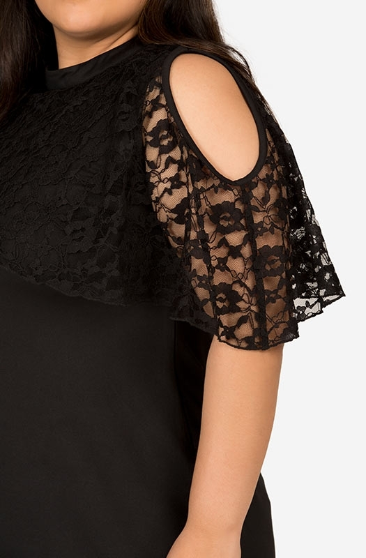 Formal Cold Shoulder LBD with Lacy Cape Sleeves