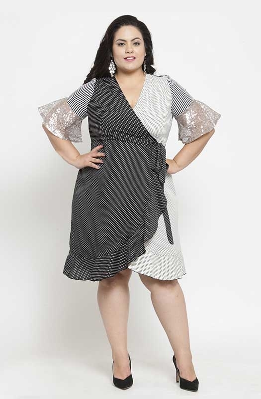Monochrome Wrap-On Asymmetrical Party Dress