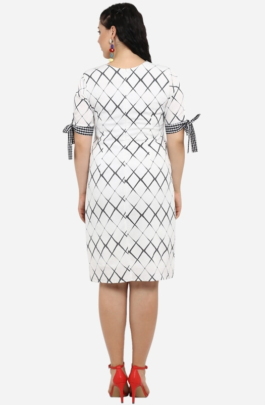 Casual Straight Fit Diagonal Check Dress with Pockets