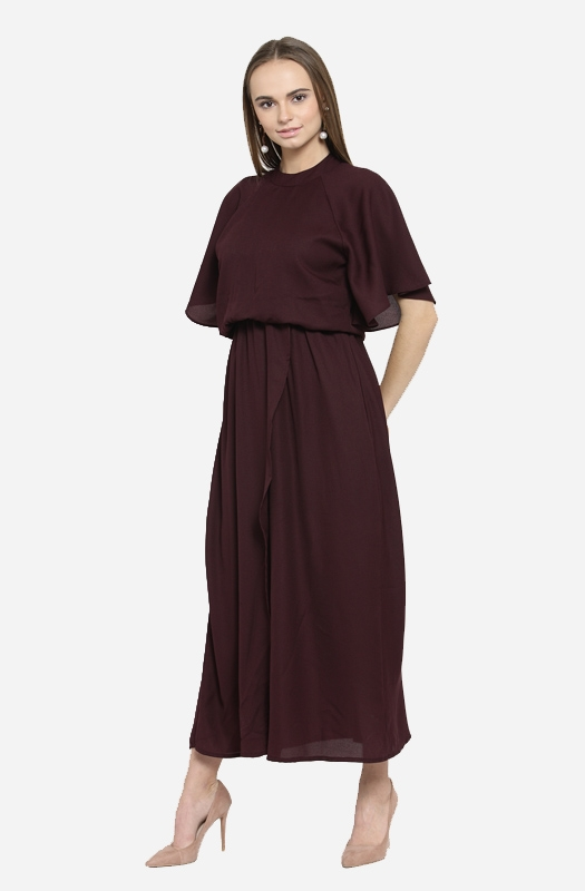 Formal Solid Blouson Maxi Dress