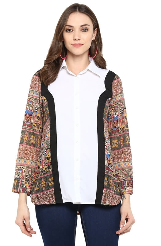 Casual Button-Down Shirt with Tribal Print Side Panels