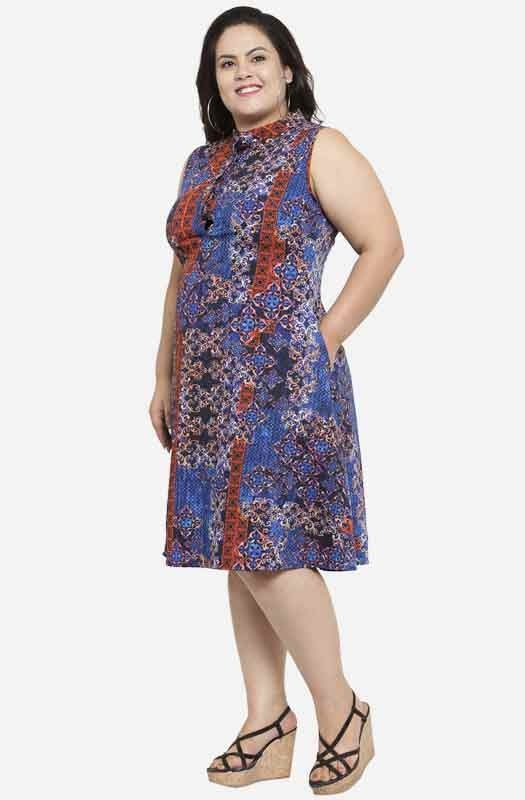 Multicolored A-line Abstract Party Plus Size Dress with Pockets