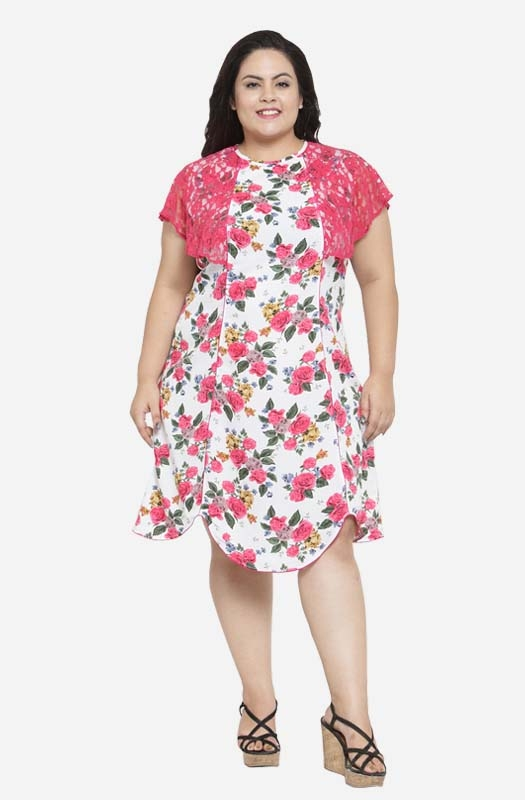 Asymmetric A-line Shift Casual Floral  Dress with Ruffled Sleeves