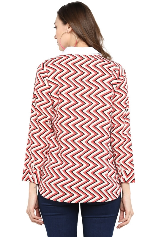Casual Button-Down Shirt with Chevron Print Side Panels