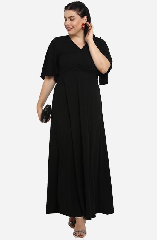 Solid Black Casual Maxi Dress