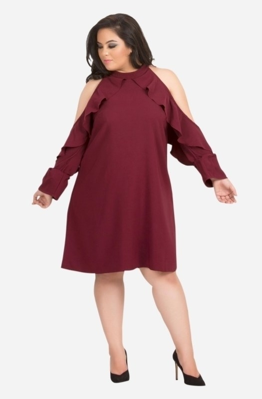 Solid Ruffle Cold Shoulder Dress