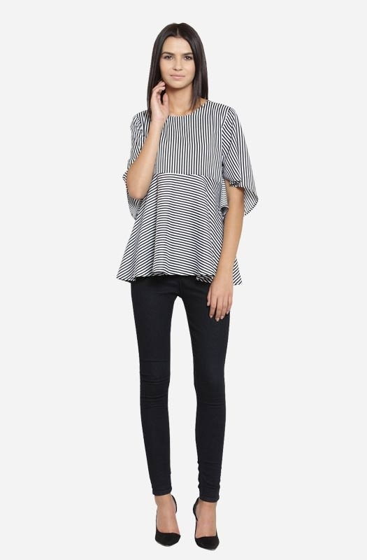 Grey Colour Striped Round Neck Flared Casual Top