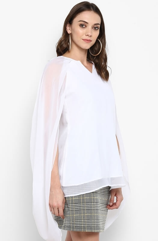 White Cape-Back Flowy Party Top