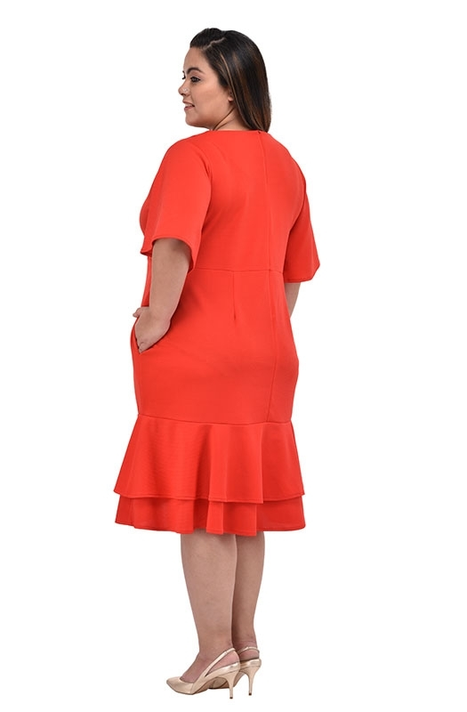 Orange A-line Casual Dress