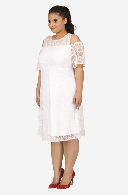 White Fit and Flare Lace Dress with Cold shoulders