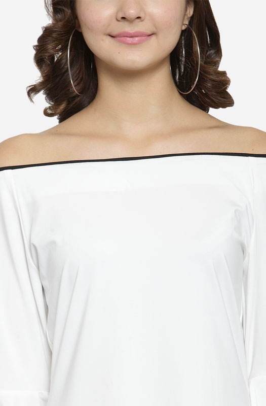 Solid White Boat Neck Off-shoulder Bell Sleeve Straight Casual Top